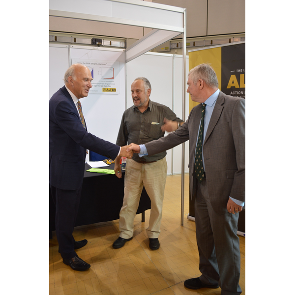 Sir Vince Cable meets David Cooper, ALTER secretary, and Joseph Bourke, Chair, at the Bournemouth Stand
