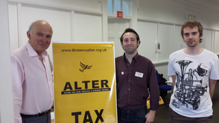 Vince Cable visits ALTER stand at SLF conference, with members Toby Matthews and Daniel Henry. (Daniel Henry)